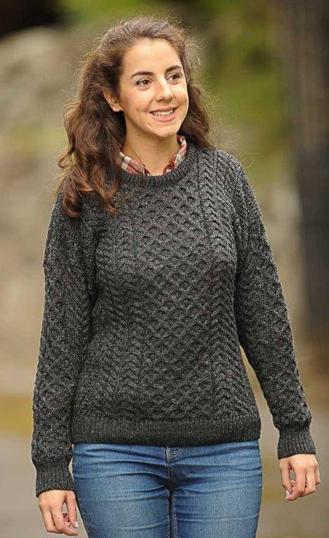 Classic Ladies Aran Sweater Charcoal