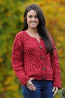 Corrib Ladies Aran Cardigan-Cranberry