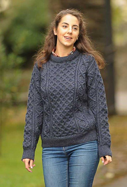 Definitive Aran Ladies Sweater Honeycomb Stitch Indigo
