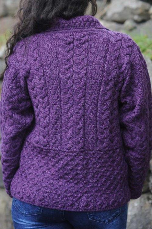Lagan Aran Ladies Cardigan Purple Heather