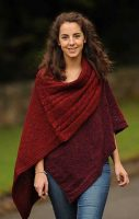 Rosie Finnegan Ladies Aran Wrap Claret colour-One size