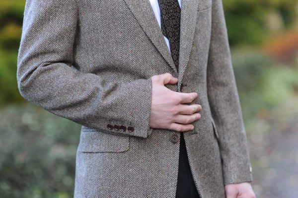 Belcarra Herringbone Donegal Tweed Jacket Detail