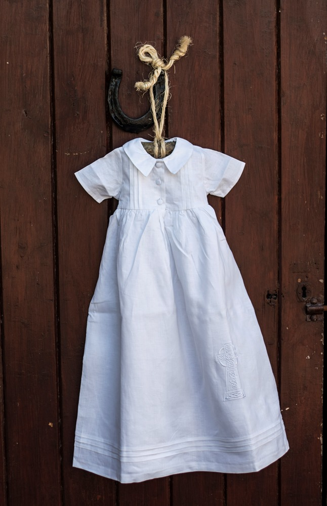 Celtic Cross Short Sleeve Christening Gown