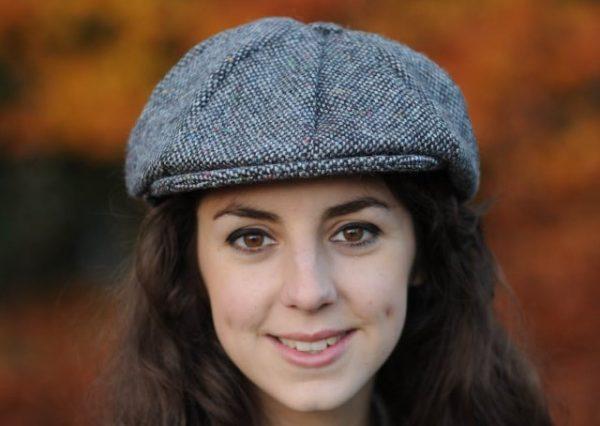 Dublin Newsboy Black Ladies Tweed Cap