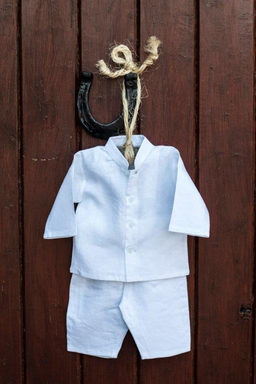 Irish Linen Christening Grandad Shirt & Pullups