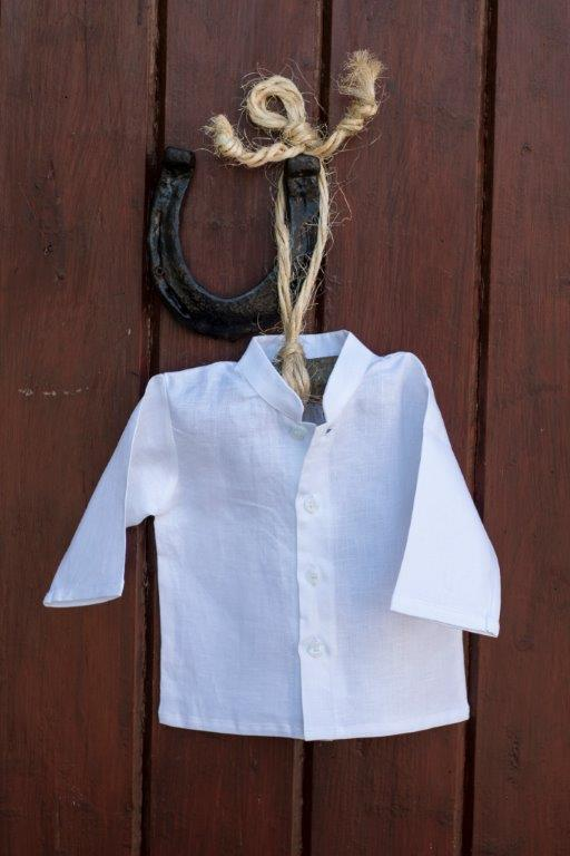 Irish Linen Christening Grandad Shirt