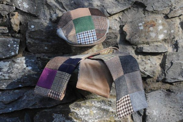 Patchwork Tweed Cap & Scarf Set