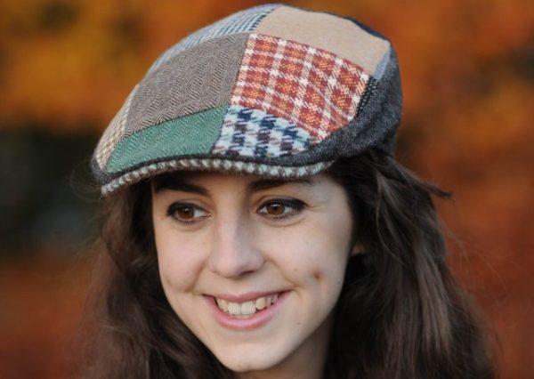 Ladies Patchwork Tweed Cap