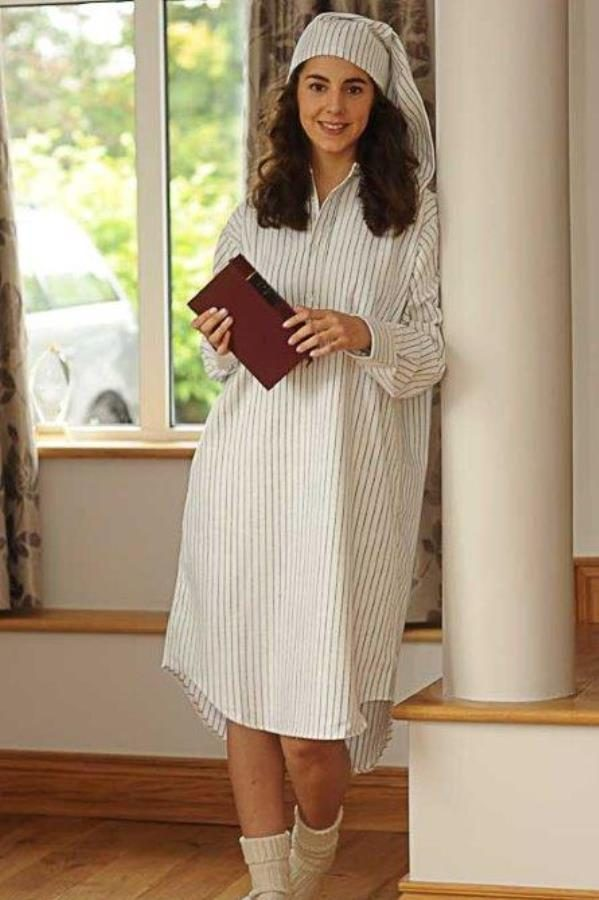 Gleneske Traditional Stripe Ladies Irish Nightshirt Charcoal Stripe