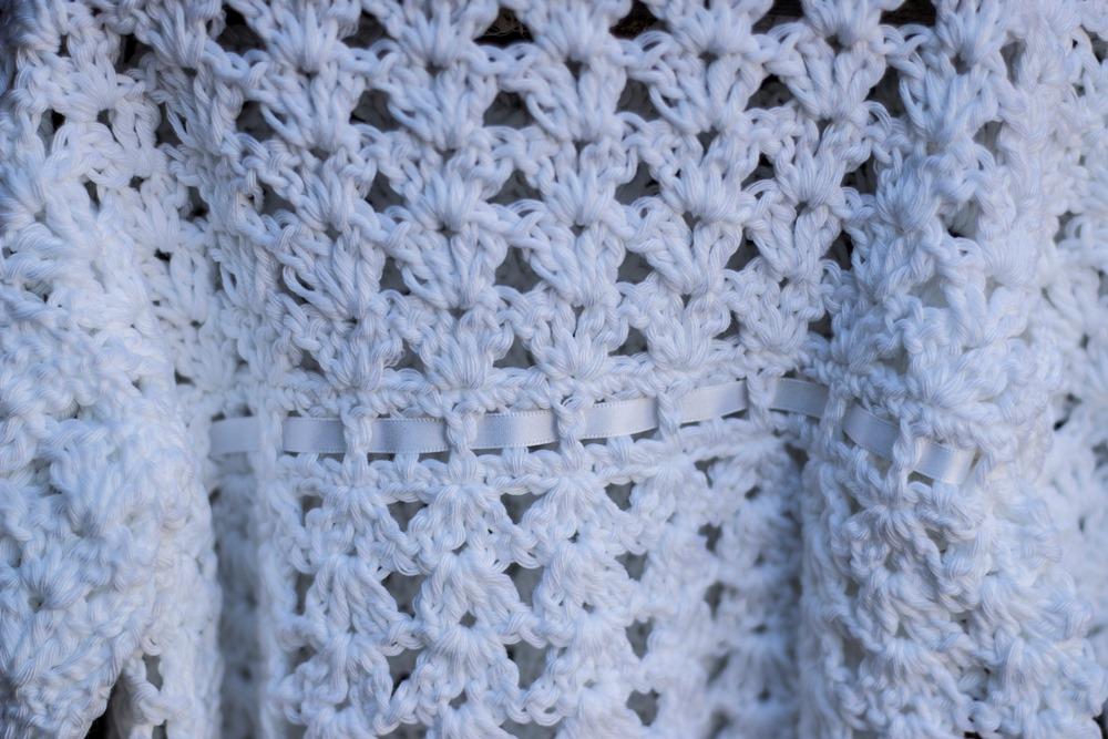 Irish Hand Crochet Christening Cardigan detail