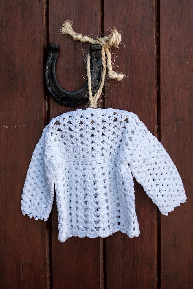 Irish Hand Crochet Christening Cardigan back