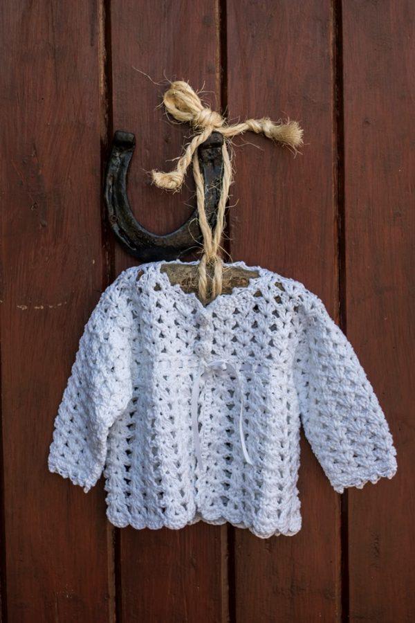 Irish Hand Crochet Christening Cardigan