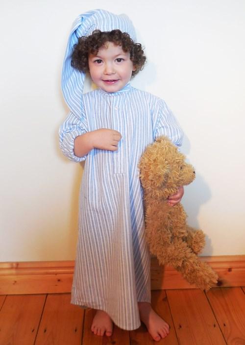 Childrens Gleneske Stripe Irish Nightshirt and Cap Classic Blue