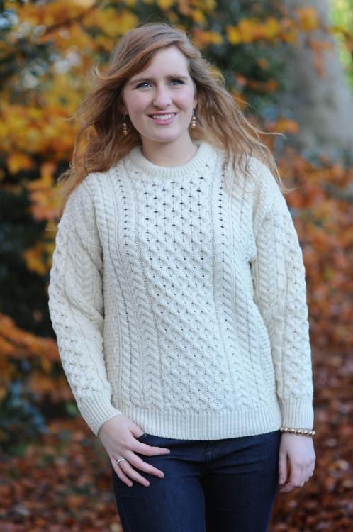 Classic Aran Ladies Sweater Natural