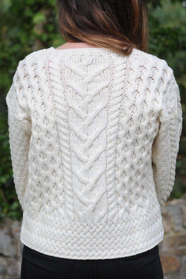 Corrib Cropped Aran Ladies Cardigan Natural