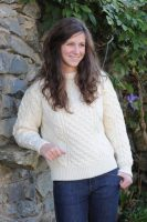 Definitive Aran Ladies Sweater Honeycomb Stitch Natural