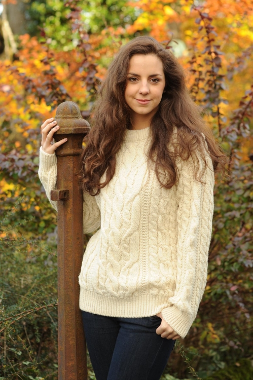Definitive Aran Ladies Sweater Cable Stitch Natural