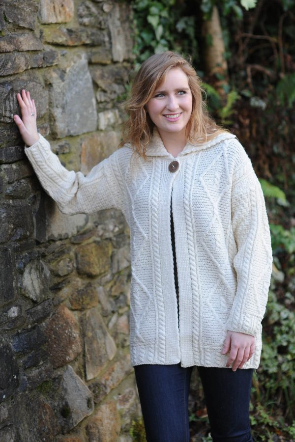 Derg Aran Ladies Cardigan Natural