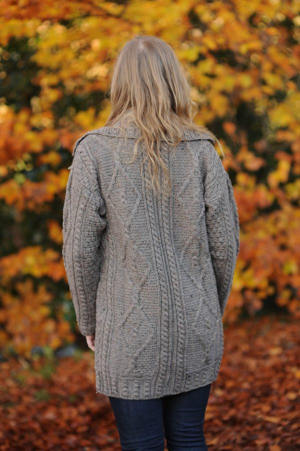 Derg Aran Ladies Cardigan Mink