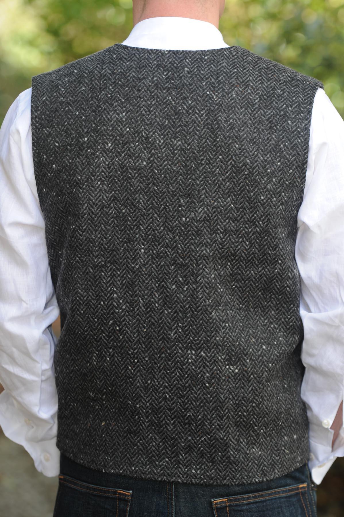 Glengesh Tweedback Waistcoat Charcoal Grey Herringbone