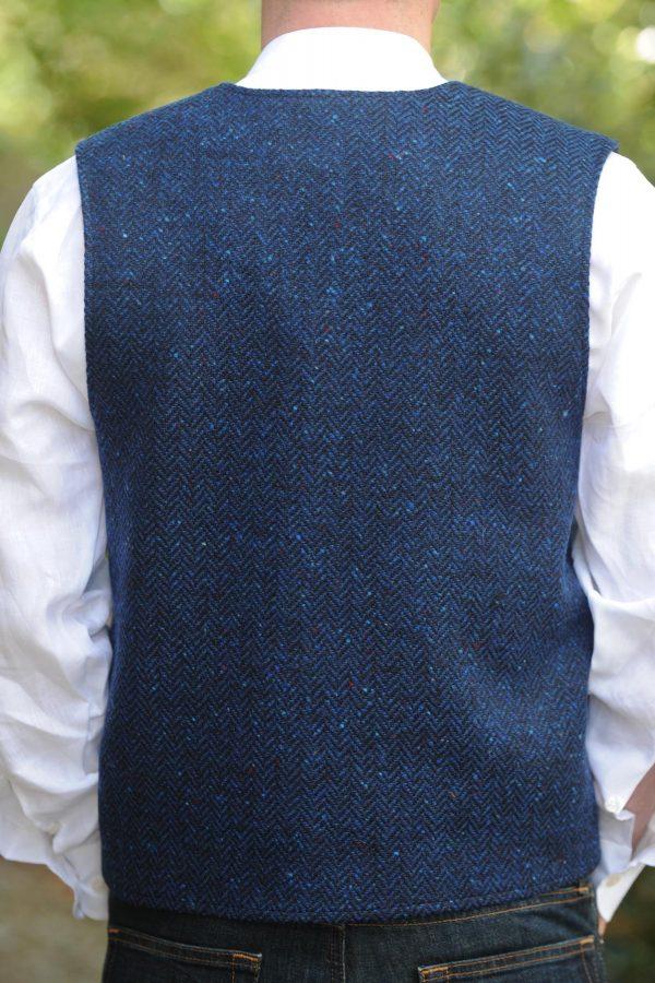 Glengesh Tweedback Waistcoat Blue