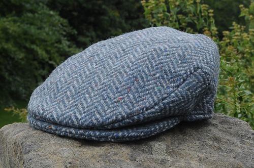 Herringbone Tweed Cap Blue/Grey