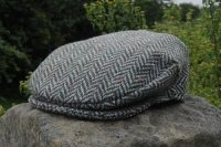 Herringbone Tweed Cap Green/Grey