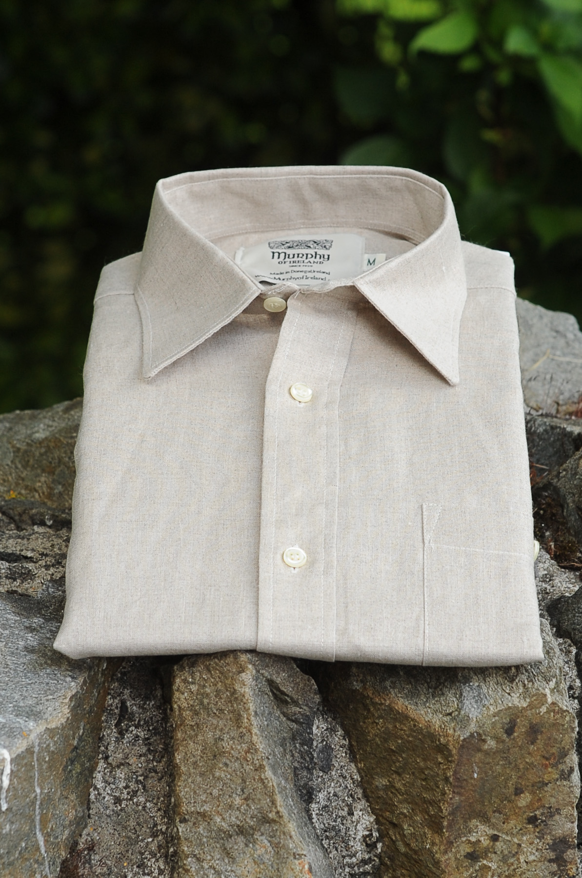 Irish Linen Sunday Shirt (Collar) Oatmeal