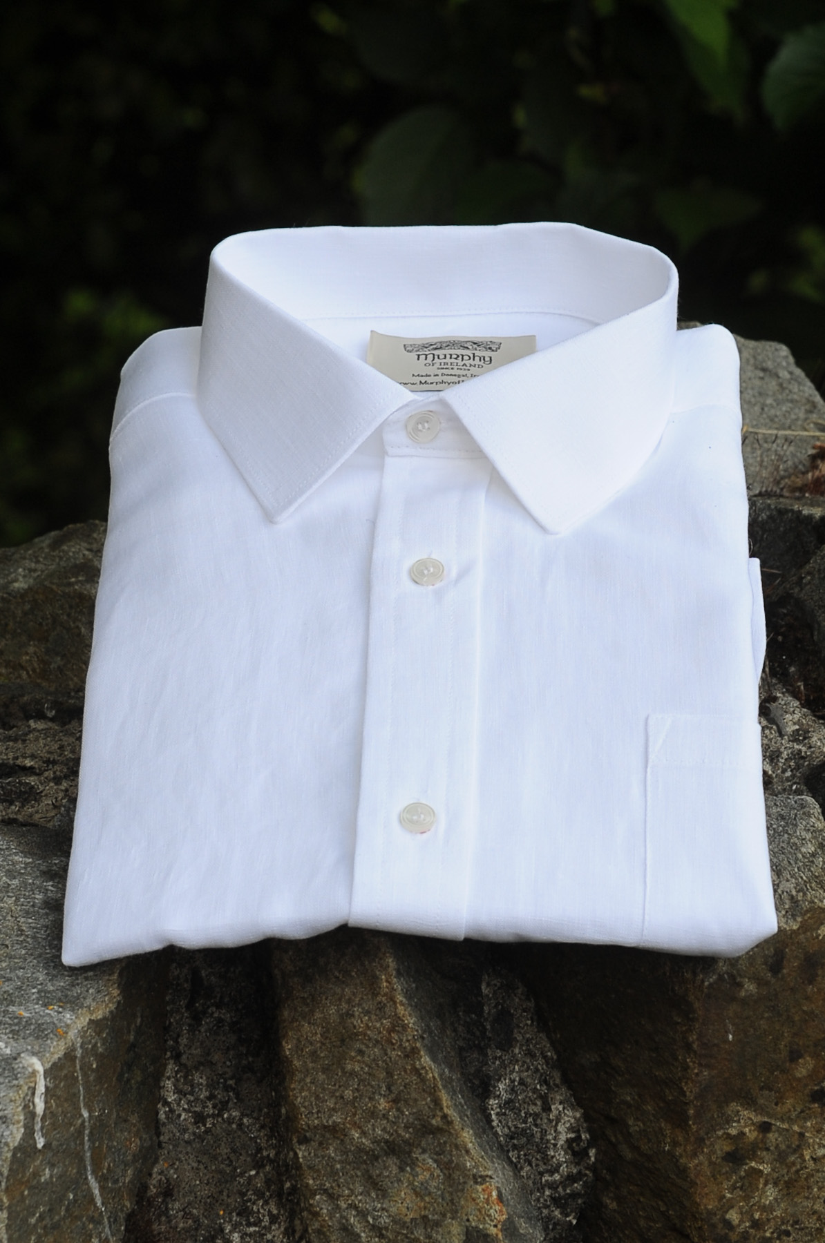 Irish Linen Sunday Shirt (Collar) White