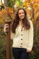 Liffey Aran Ladies Cardigan Natural