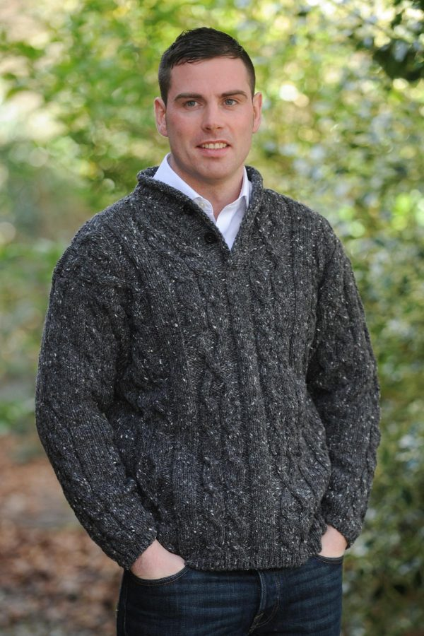 Finn Aran Sweater Charcoal Grey