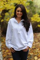Gleneske Ladies Grandfather Shirt Atlantic Blue