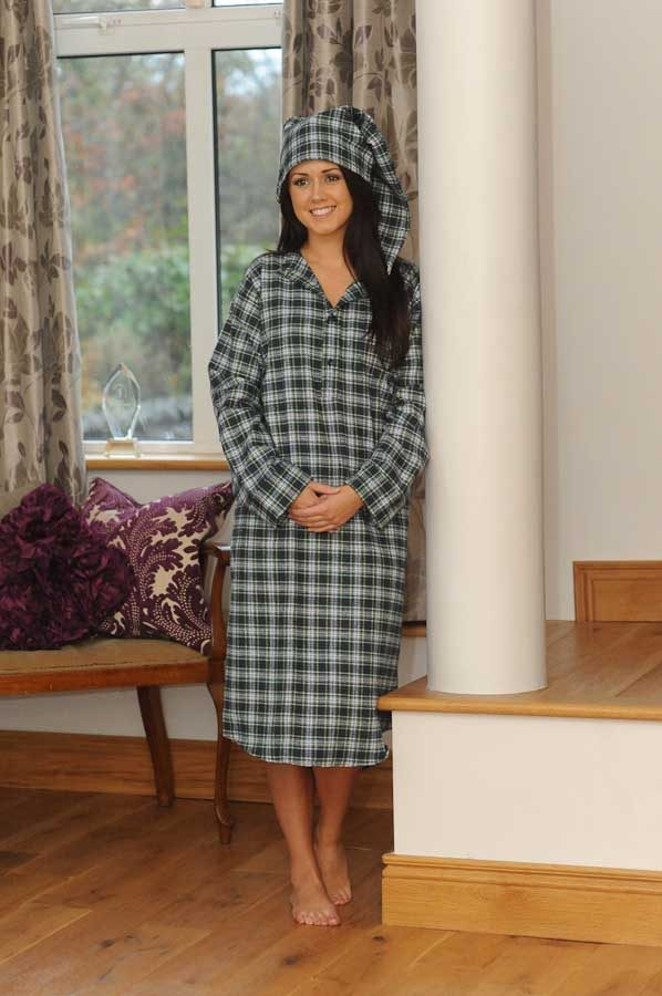 Gleneske Tartan Ladies Irish Nightshirt and Cap Dress Gordon