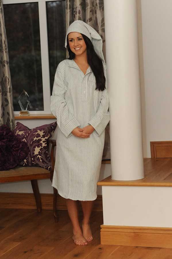 Gleneske traditional stripe ladies irish nightshirt for Womens flannel night shirts