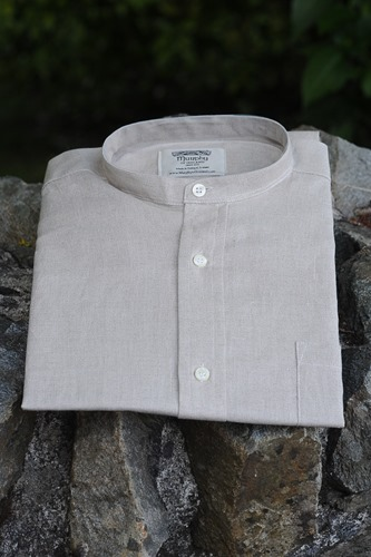 Irish Linen Sunday Shirt (Collarless) Oatmeal