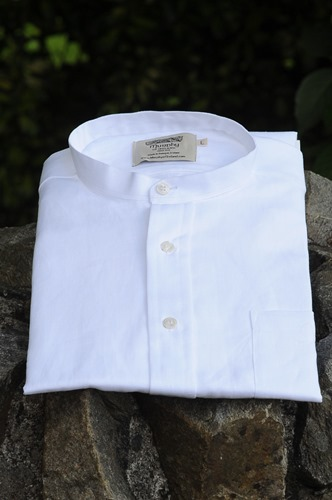 Irish Linen Sunday Shirt (Collarless) White