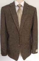 Moss Green Herringbone Handwoven Donegal Tweed Jacket