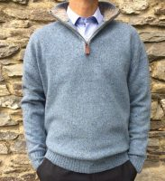 Baltimore Irish Aran Sweater - Blue Fleck