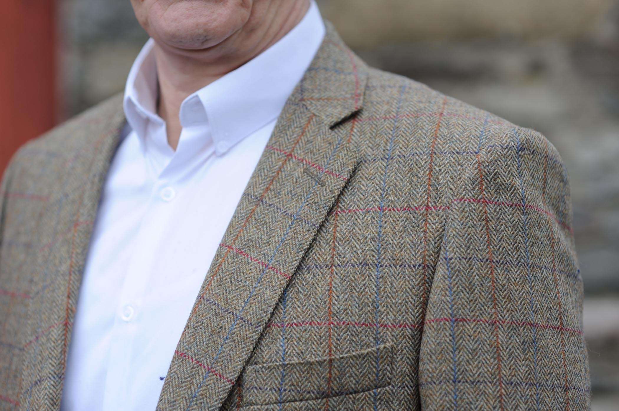 Glendalough Country Check Donegal Tweed Jacket Detail