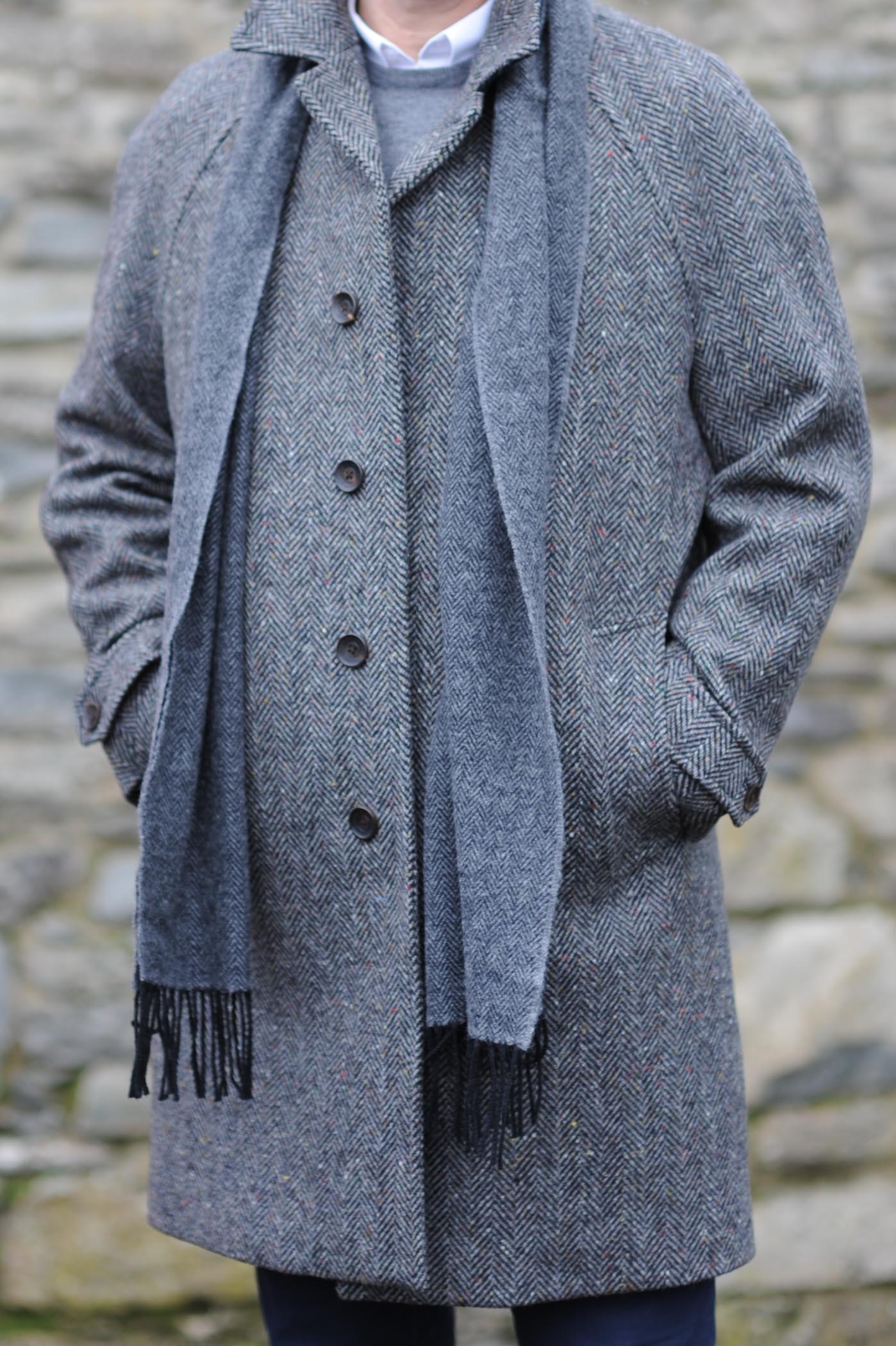 Dublin Herringbone Donegal Tweed Overcoat Charcoal Fleck