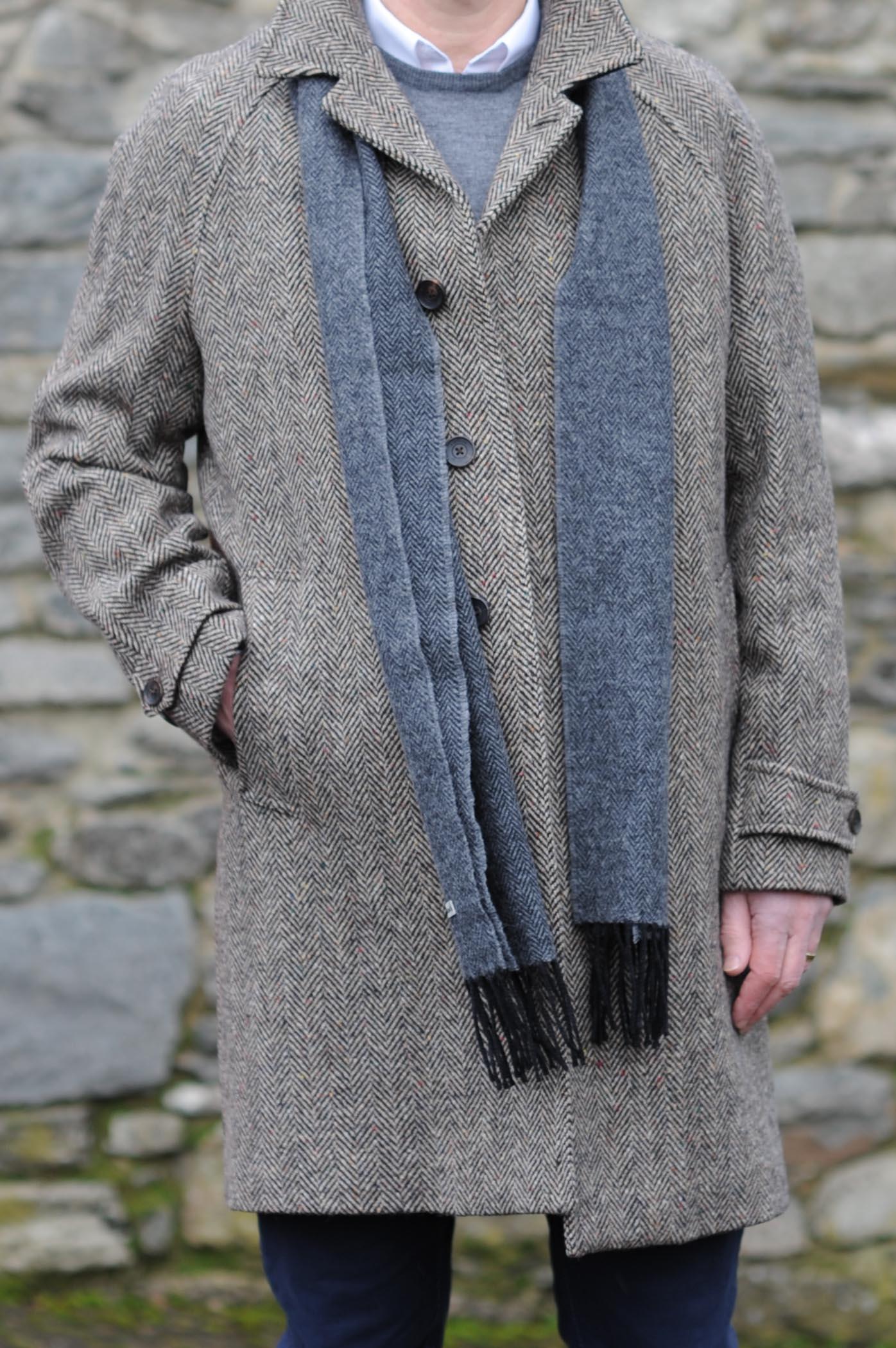 Dublin Herringbone Donegal Tweed Overcoat Oatmeal