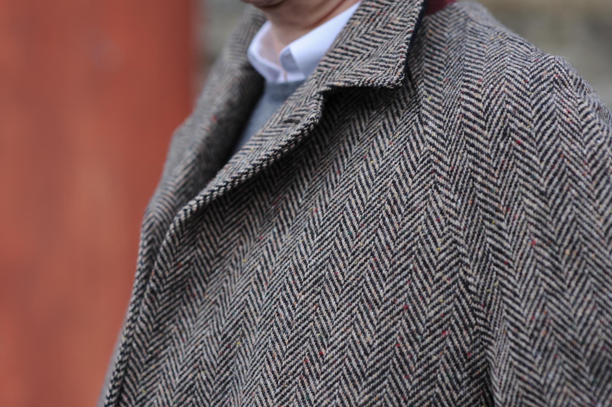 Dublin Herringbone Donegal Tweed Overcoat Oatmeal Detail