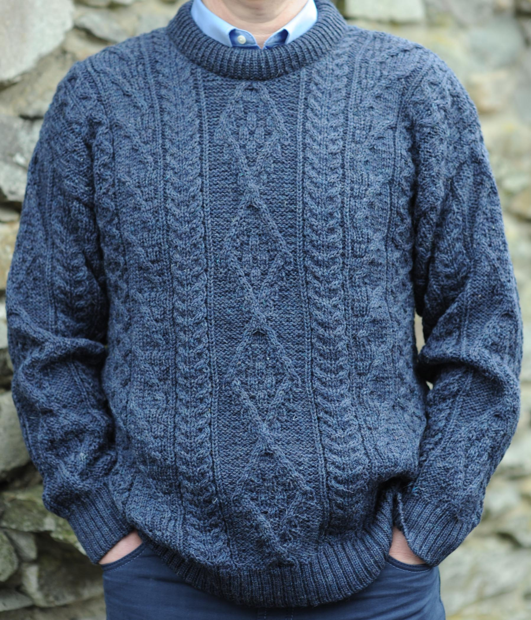 Innismor Irish Aran Sweater Denim